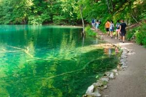 Es führen zahlreiche schattige Rundwege wie dieser direkt am Seeufer durch den Nationalpark Plitvicer Seen