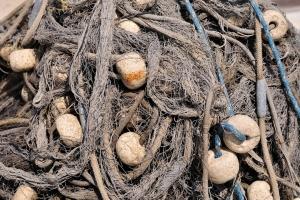 Fischernetz im Hafen von Podgora