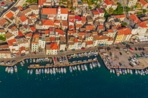 Aerial view of Sibenik city center