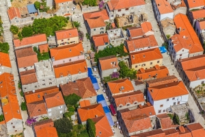 Aerial view of Old Town of Ston