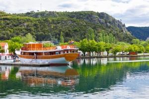Sightseeing boat on river Krka