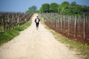 Entspanntes Laufen durch die Weinberge in der Nähe von Umag