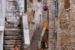 Stony alley in the old town of Umag