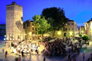 Five wells square in Zadar, Croatia - open air performance by orchestra